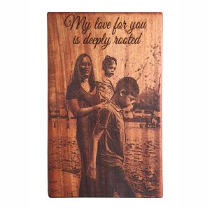 African Mahogany Photo Board - 220 x 340 mm - Mom and Children