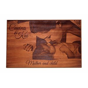 African Mahogany Photo Board - 220 x 340 mm - Mother and Child